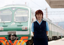 Woman worker railroad Royalty Free Stock Images