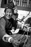 A woman worker of a remote southern Tibetan Village Stock Photos
