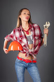 Woman worker studio portait Royalty Free Stock Photography