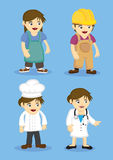 Woman Workers and Professionals Vector Icon Set. Female workers and professionals in work uniform. Vector illustration in cartoon style isolated on plain blue Royalty Free Stock Photography