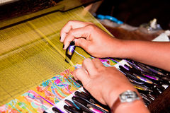 Woman Working At Weaving Loom Royalty Free Stock Photos