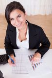 Woman working with bar graphs Royalty Free Stock Image