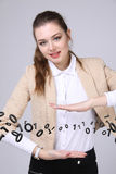 Woman working with binary code, concept of digital technology. Stock Photo