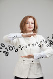 Woman working with binary code, concept of digital technology. Stock Photos