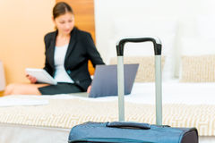 Woman working on a business trip Stock Photos