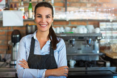 Woman working at cafe Royalty Free Stock Images