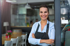 Woman working at cafe Royalty Free Stock Photo