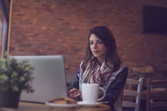 Woman working in a cafe Royalty Free Stock Photo