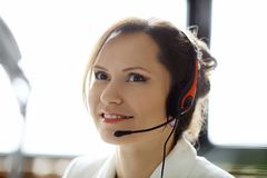 Dispatcher at work. Woman working in call center as dispatcher Royalty Free Stock Image
