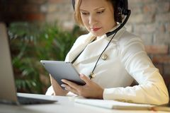 Dispatcher at work stock photography