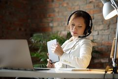 Dispatcher at work. Woman working in call center as dispatcher Stock Photos