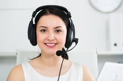 Woman working in call-center Stock Images