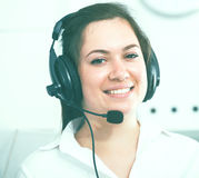 Woman working at call-center Stock Photo