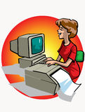 Woman working on computer stock illustration