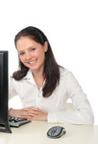 Woman working on a computer Royalty Free Stock Photography