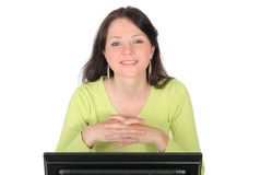 Woman Working at the Computer royalty free stock images