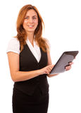 Woman working computer or ipad Royalty Free Stock Images