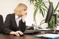 Woman working with computer Stock Photo