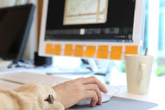 Woman working on computer Royalty Free Stock Images