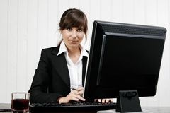 Woman working with computer Royalty Free Stock Photo