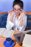 Woman working with computer Stock Image
