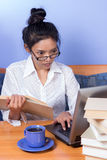 Woman working with computer Royalty Free Stock Image
