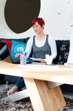 Woman working at contemporary home Stock Photos