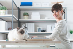 Woman working at desk with her cat Royalty Free Stock Images