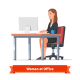 Woman working on a desktop at the office table stock illustration