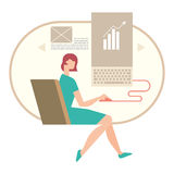 Woman working on a document on your computer. Business concept Royalty Free Stock Photos