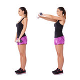 Woman working with dumbbells Royalty Free Stock Image