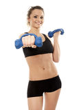 Woman working with dumbbells Royalty Free Stock Photo