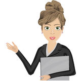 Woman working with a folder. Vector illustration of a woman working with beautiful eyes and a smile Stock Photo
