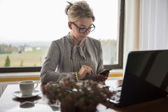 A woman working form home checking messages on the phone. Stock Photography