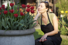 Woman working in garden Stock Photo