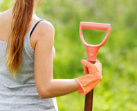 Woman working in the garden Stock Photography