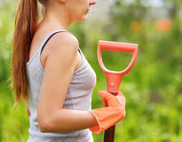 Woman working in the garden Stock Photos