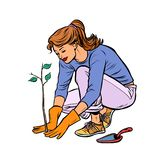 Woman working in the garden, planting a seedling vector illustration