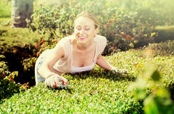 Woman working with green bush using horticultural tools. Happy young woman working with green bush using horticultural tools on sunny day Royalty Free Stock Photo