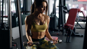 Woman working on her biceps in a gym Stock Photo
