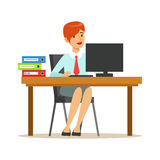 Woman Working At Her Desk With Computer And Folders, Part Of Office Workers Series Of Cartoon Characters In Official. Clothing. Happy Person Working In The stock illustration
