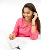 Woman working in her laptop Stock Photo