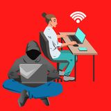 Woman working on her laptop by the desk illustration. Vector flat illustration with office woman working on her computer by the desk and hacker sitting with Royalty Free Stock Photos