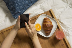 Woman working with her mobile and having breakfast Royalty Free Stock Image