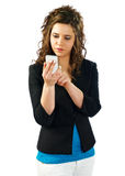 Woman working with her smartphone. Woman consulting and talking at her smartphone Stock Photo