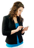 Woman working with her smartphone. Woman consulting and talking at her smartphone Royalty Free Stock Photos