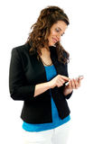 Woman working with her smartphone. Woman consulting and talking at her smartphone Stock Photos
