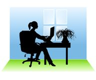 Woman Working From Home. An illustration featuring a woman sitting in a room at a desk with a laptop to represent working from home Royalty Free Stock Image