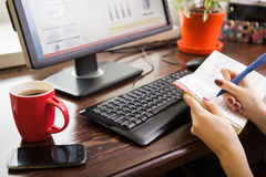 Woman working at home. Royalty Free Stock Photo