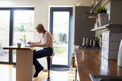 Woman Working From Home On Laptop In Modern Apartment Royalty Free Stock Photo